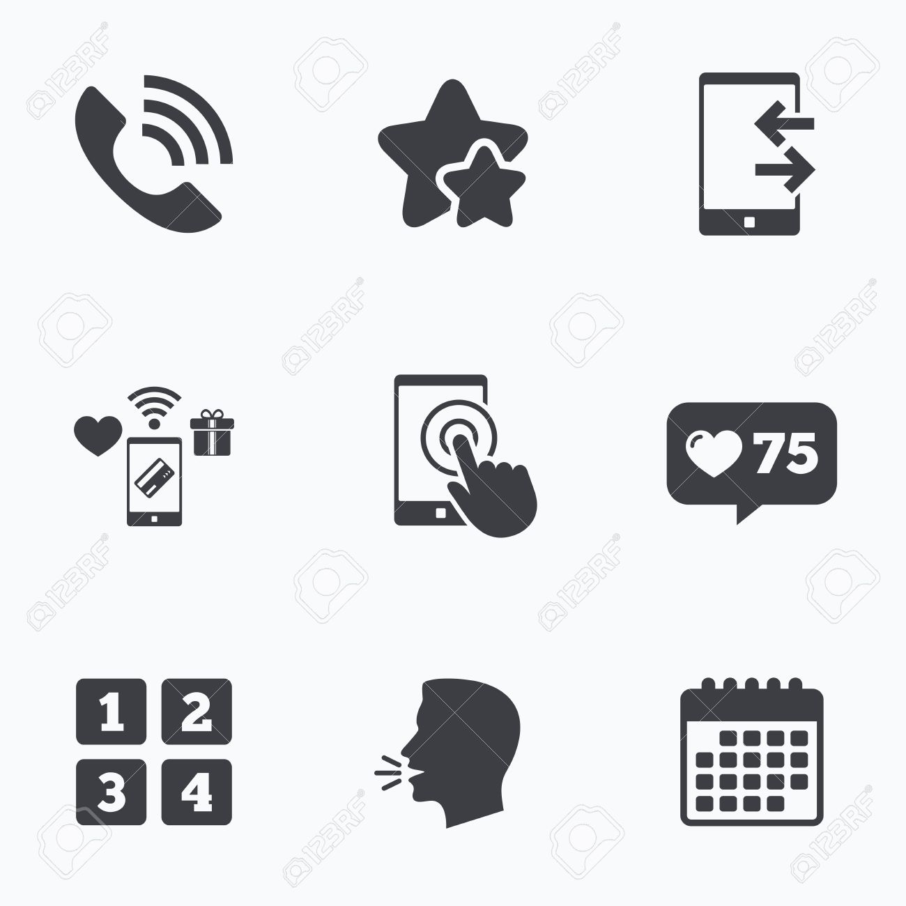 Phone icons touch screen smartphone sign call center support phone icons touch screen smartphone sign call center support symbol cellphone keyboard symbol biocorpaavc