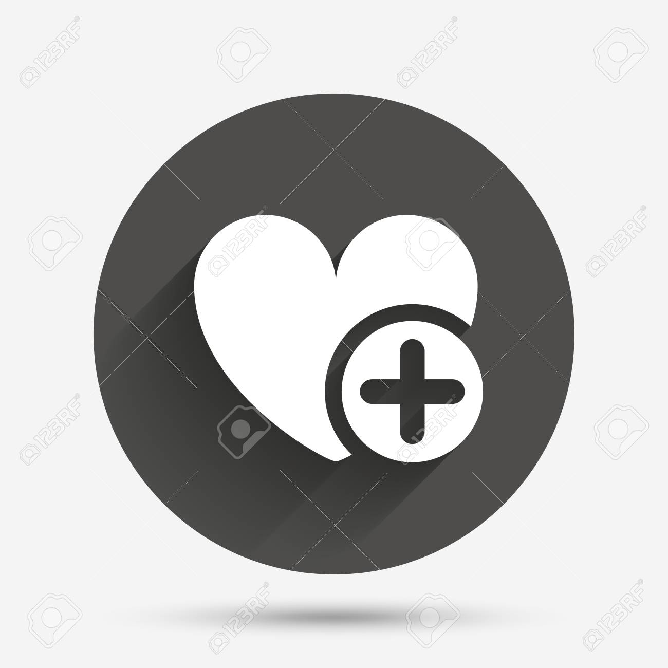 heart sign icon add lover symbol plus love circle flat button