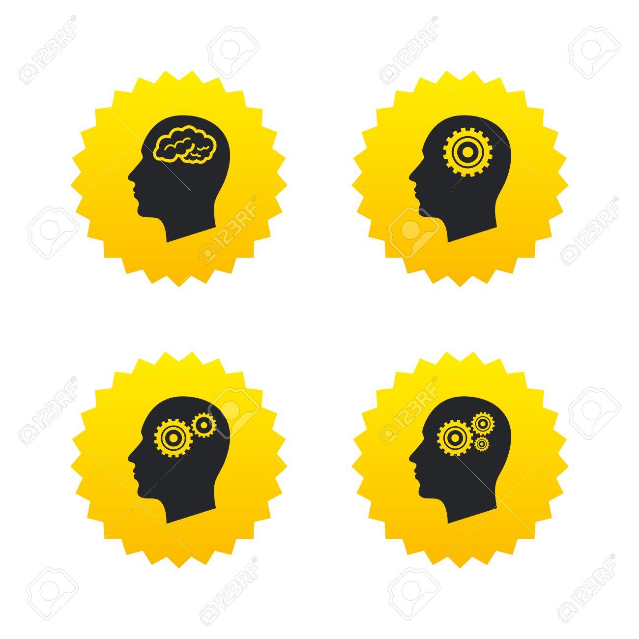 Head With Brain Icon Male Human Think Symbols Cogwheel Gears