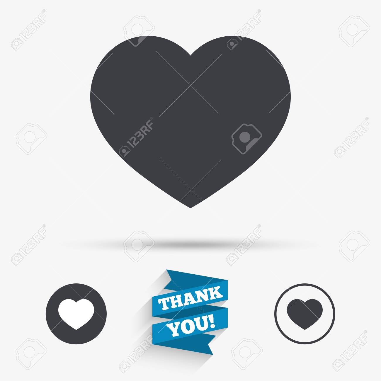 Love Icon Heart Sign Symbol Flat Icons Buttons With Icons