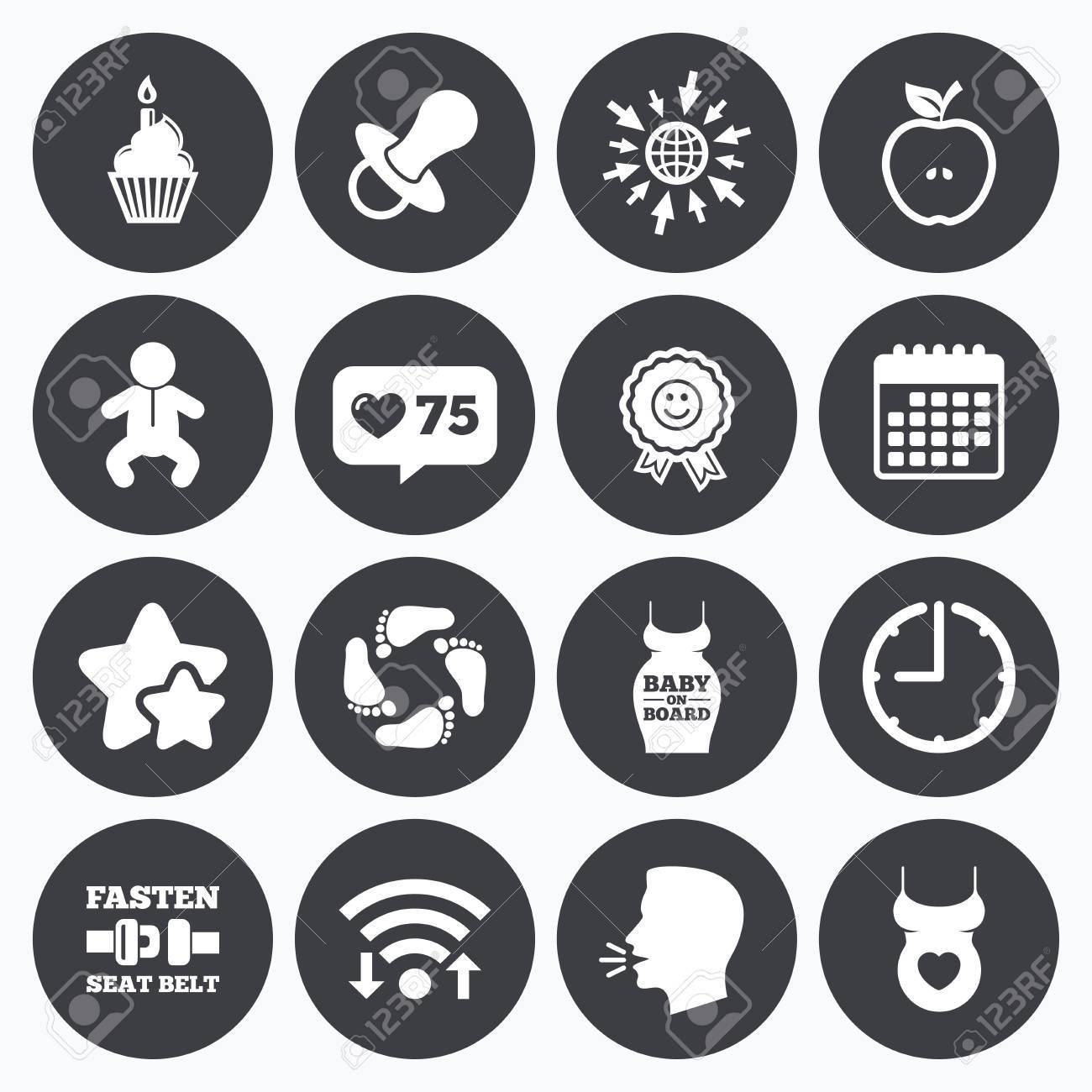 Kalender Wi Fi Und Takt Symbole Wie Zahler Sterne Symbole