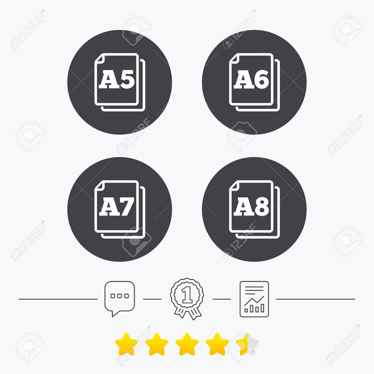 Paper size standard icons  Document symbols  A5, A6, A7 and A8