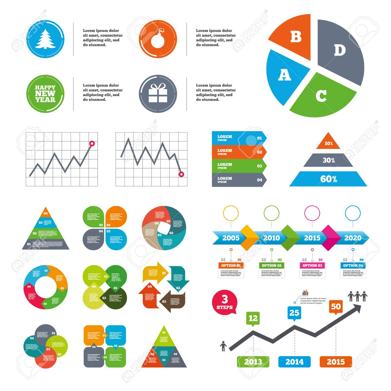 Data Pie Chart And Graphs Happy New Year Icon Christmas Tree