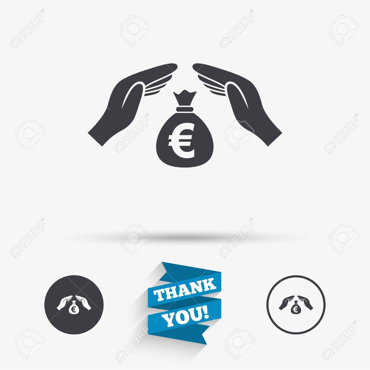 Protection Money Bag Sign Icon Hands Protect Cash In Euro Symbol