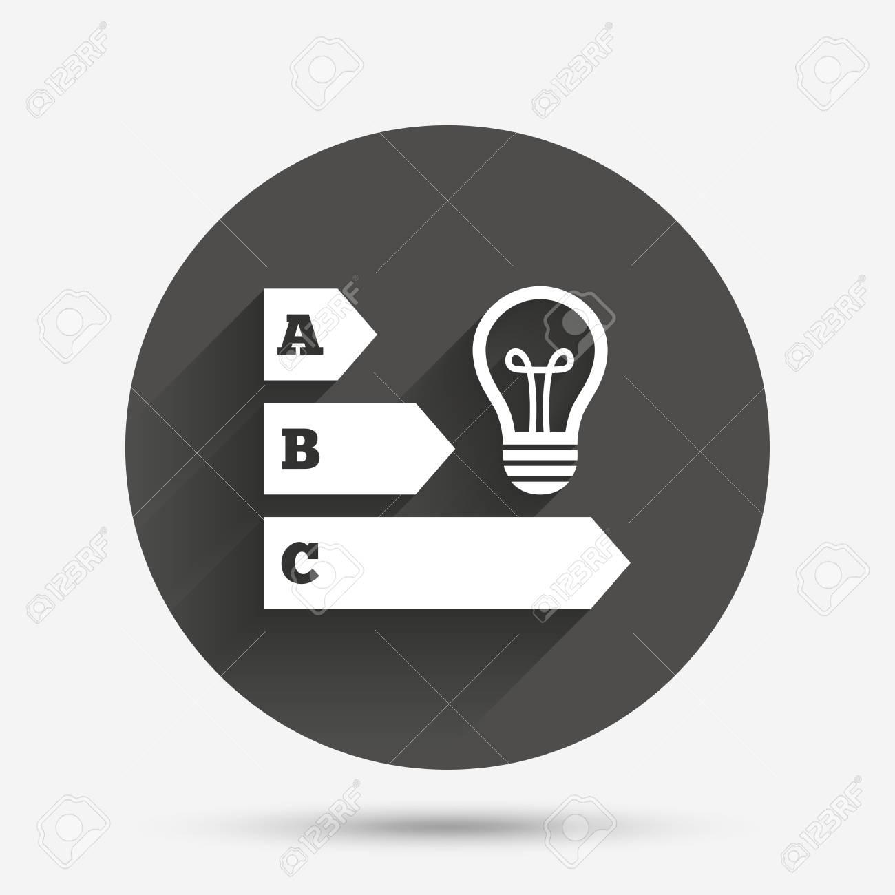 Energy Efficiency Sign Icon. Idea Lamp Bulb Symbol. Circle Flat ...