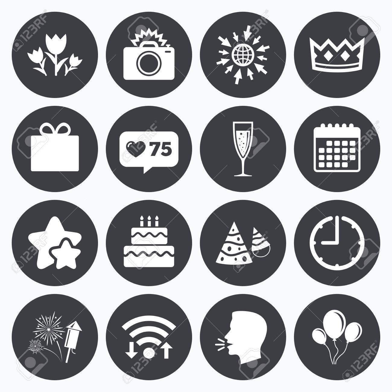 Kalender Wi Fi Und Takt Symbole Wie Zahler Sterne Symbole Party