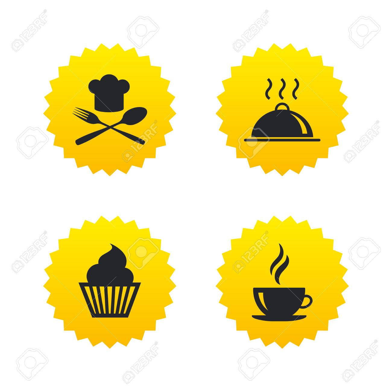 Food And Drink Icons Muffin Cupcake Symbol Fork And Spoon With Chef Hat Sign Hot Coffee Cup Food Platter Serving Yellow Stars Labels With Flat