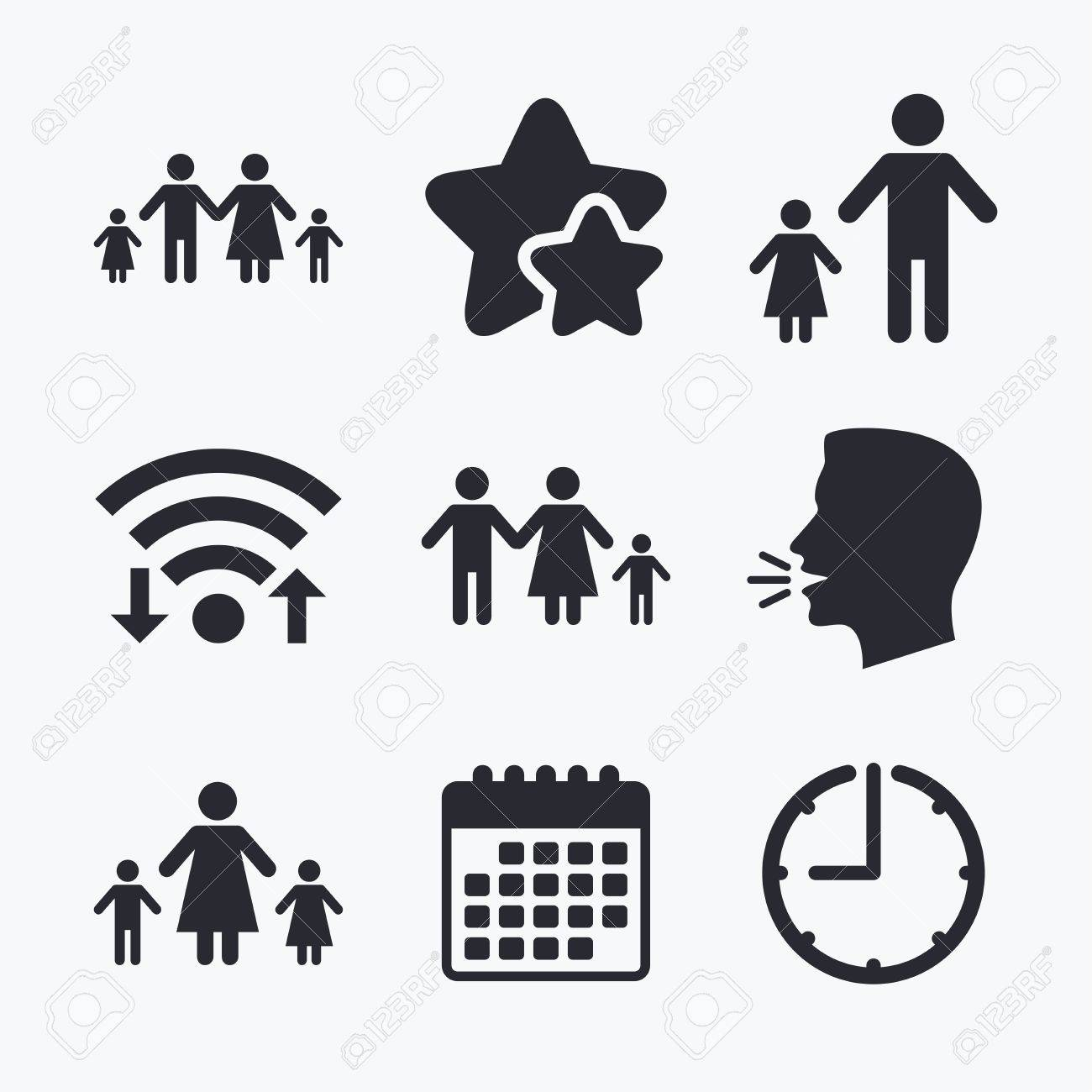 Family With Two Children Icon Parents And Kids Symbols One Parent Royalty Free Cliparts Vectors And Stock Illustration Image 62475747
