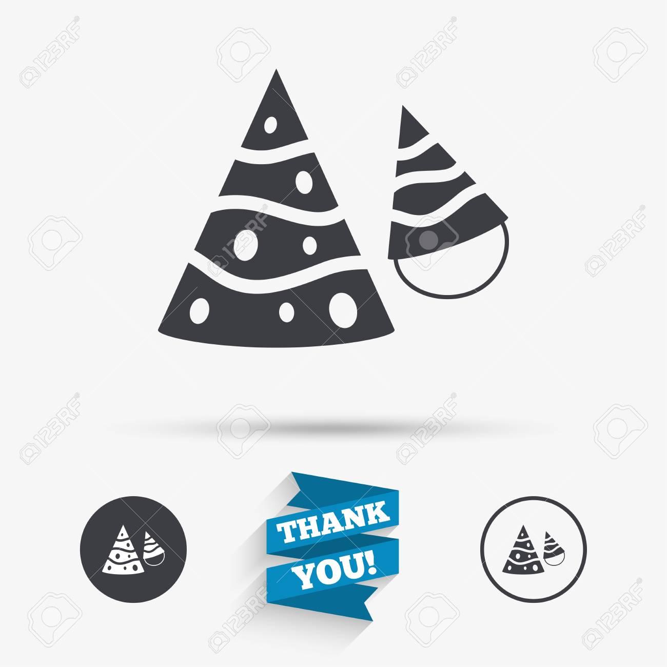 Party Hat Sign Icon Birthday Celebration Symbol Flat Icons