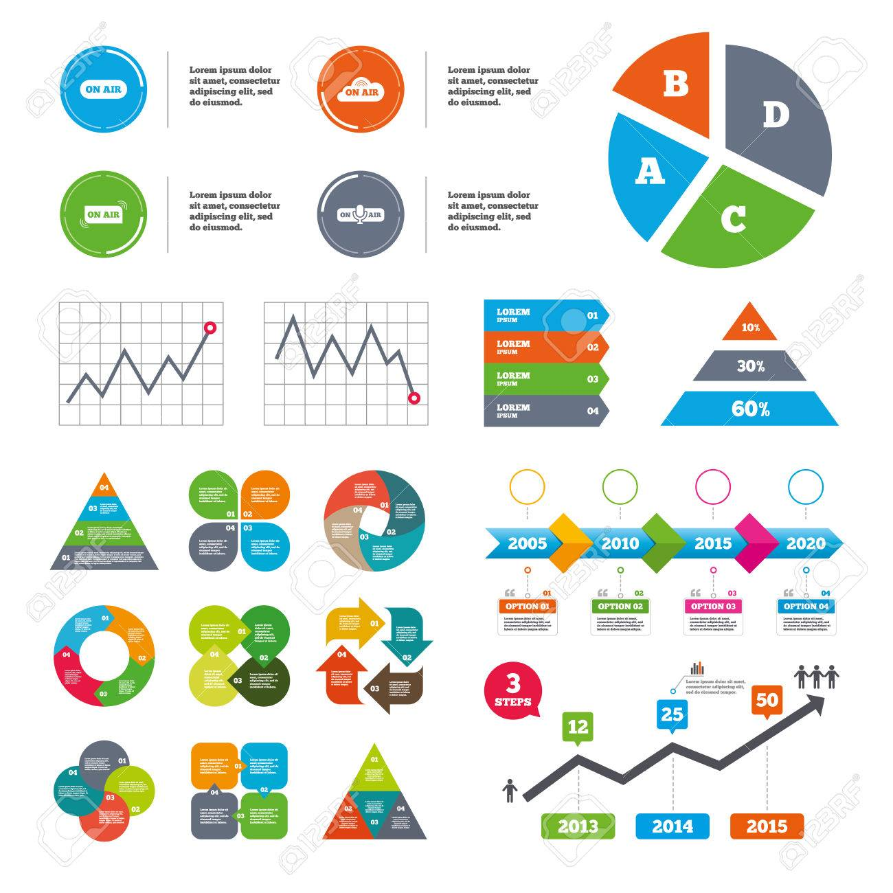 Data pie chart and graphs  On air icons  Live stream signs  Microphone