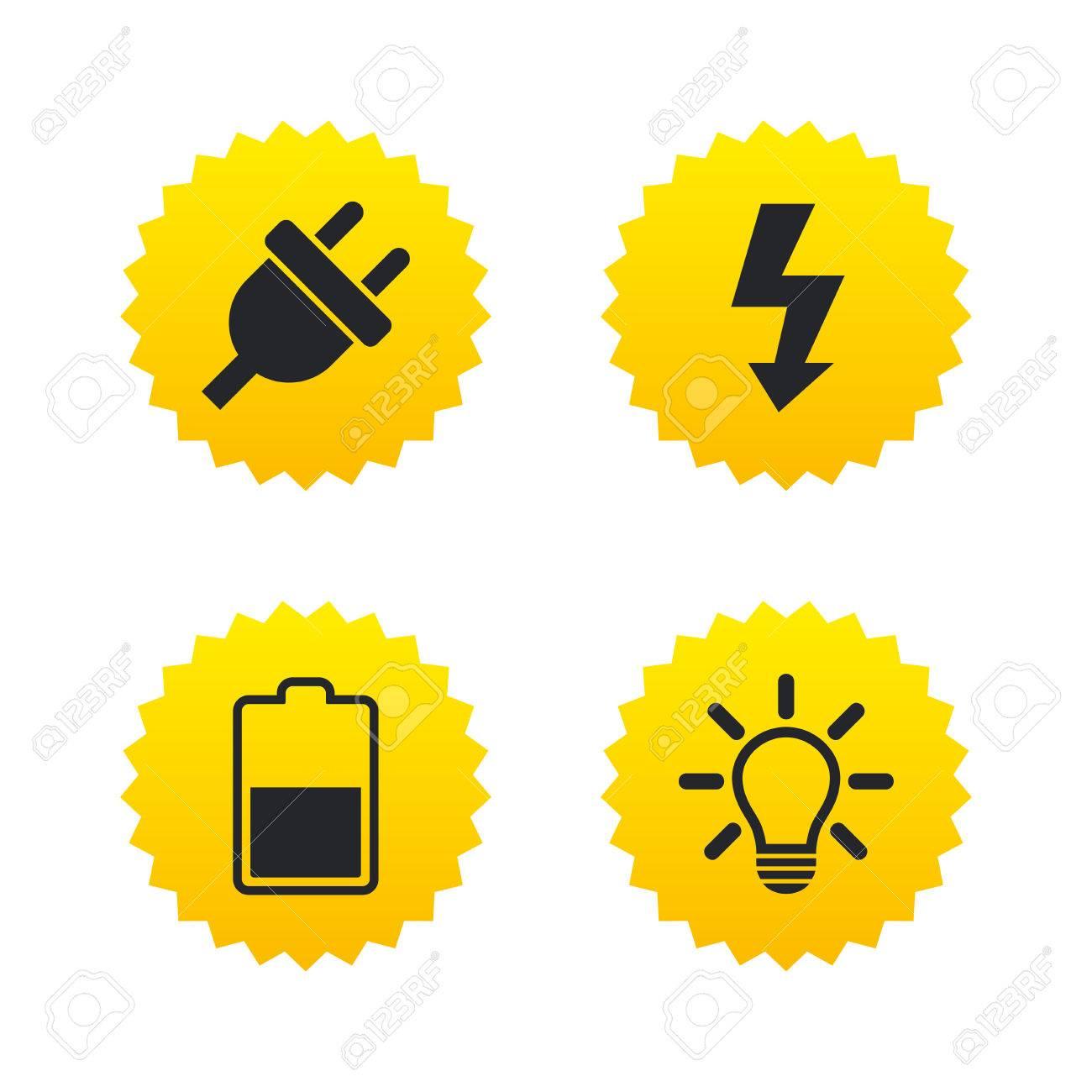 Electric Plug Icon. Light Lamp And Battery Half Symbols. Low ...