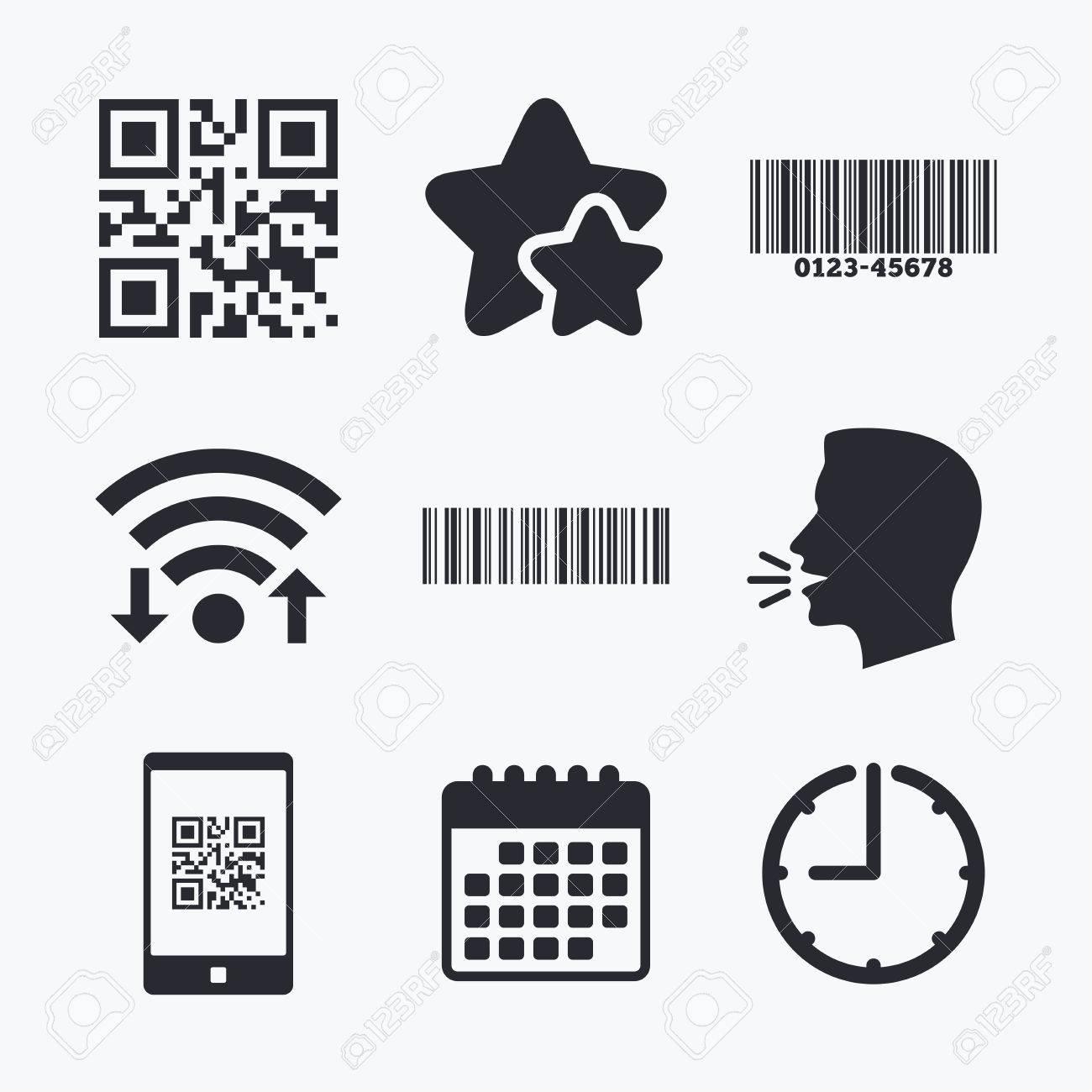 scan barcode in smartphone symbols wifi internet favorite