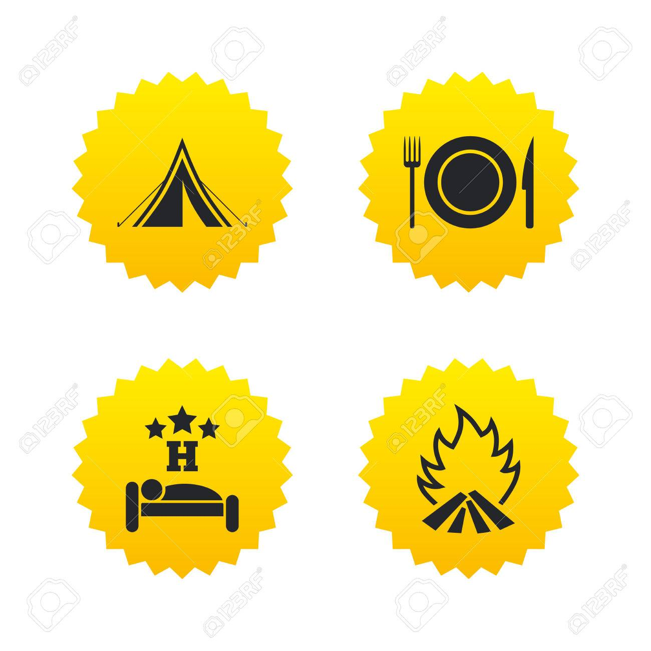Food sleep c&ing tent and fire icons. Knife fork and dish.  sc 1 st  123RF.com & Food Sleep Camping Tent And Fire Icons. Knife Fork And Dish ...