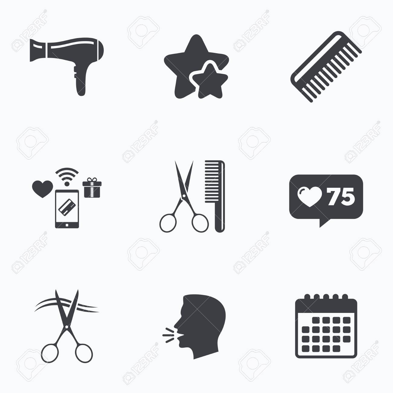 Hairdresser icons scissors cut hair symbol comb hair with scissors cut hair symbol comb hair with hairdryer sign flat talking biocorpaavc