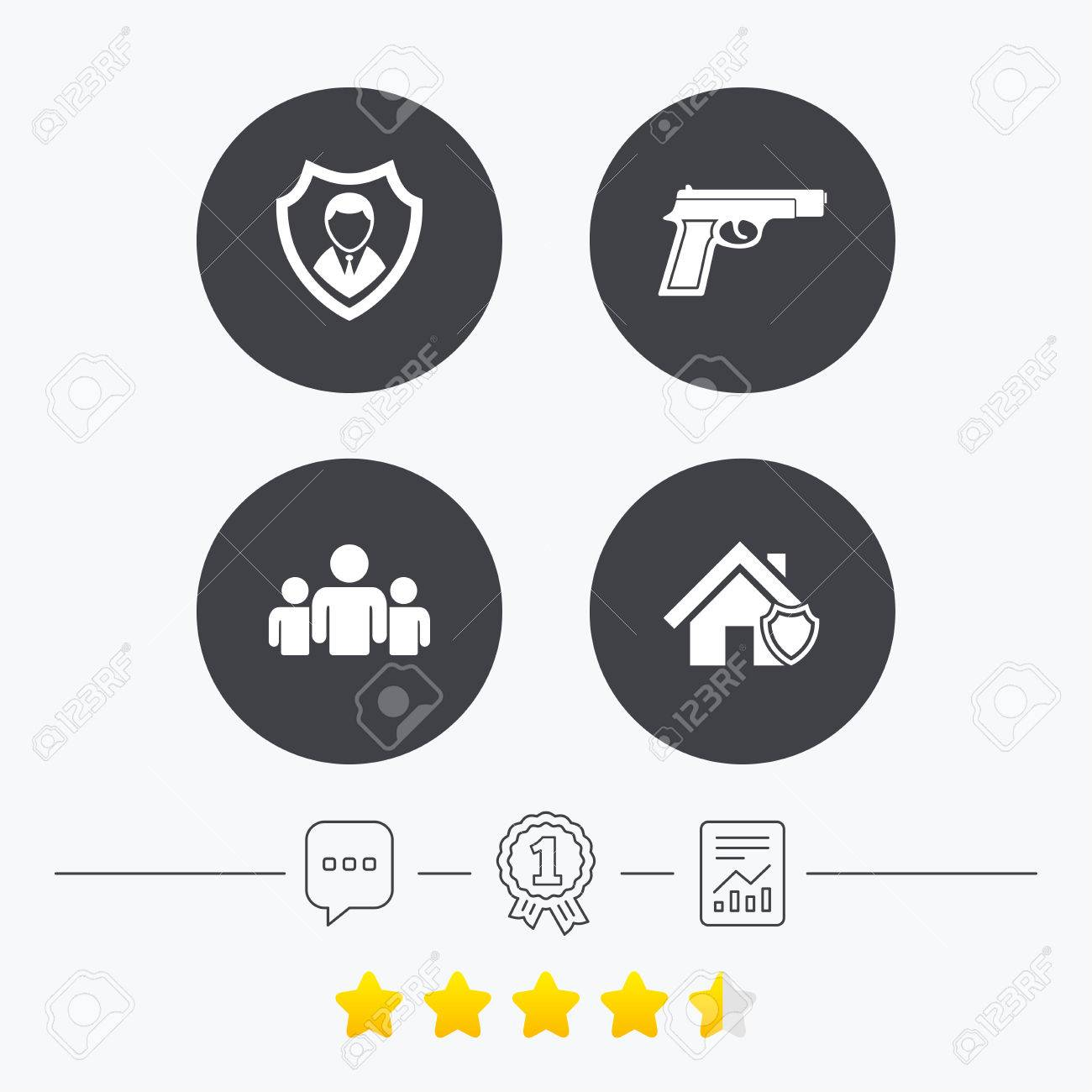 Security agency icons home shield protection symbols gun weapon home shield protection symbols gun weapon sign group of people biocorpaavc Images