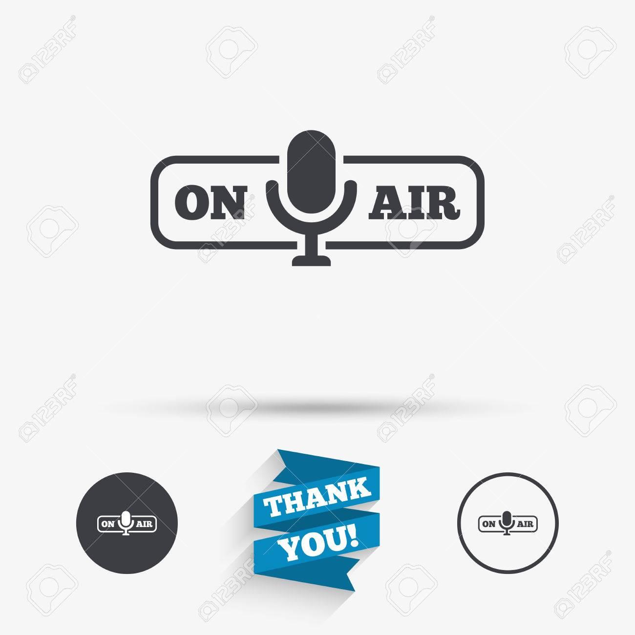 On Air Sign Icon Live Stream Symbol Microphone Symbol Flat