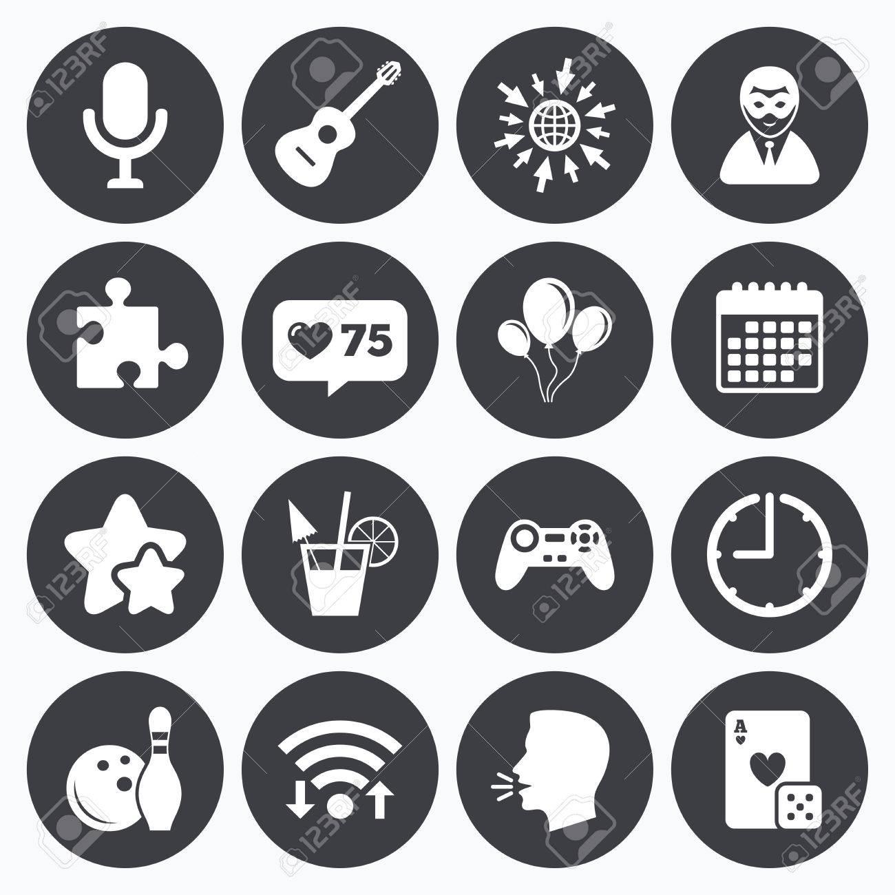 Calendar, Wifi And Clock Symbols. Like Counter, Stars Symbols ...