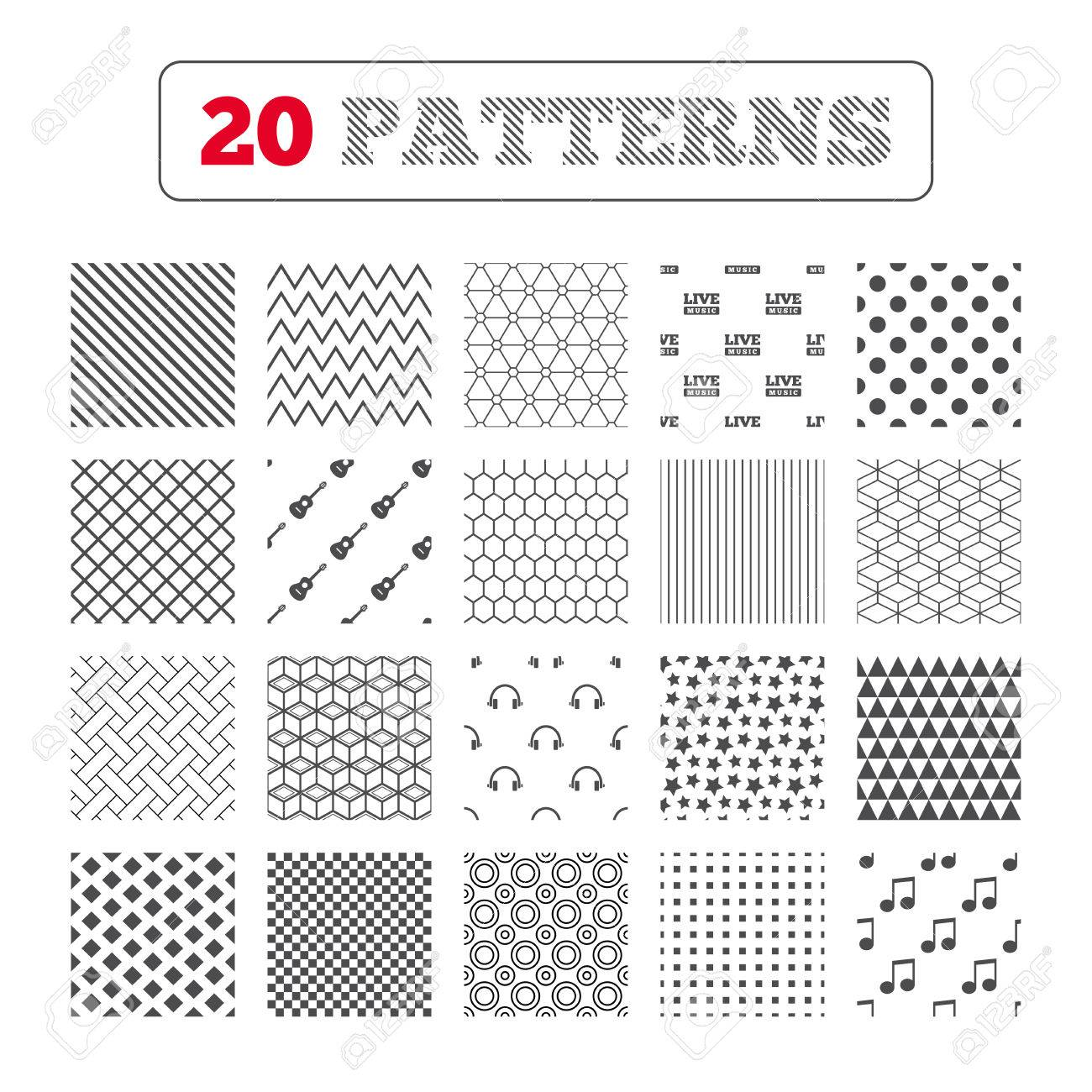 Ornament patterns diagonal stripes and stars musical elements ornament patterns diagonal stripes and stars musical elements icons musical note key and biocorpaavc Gallery