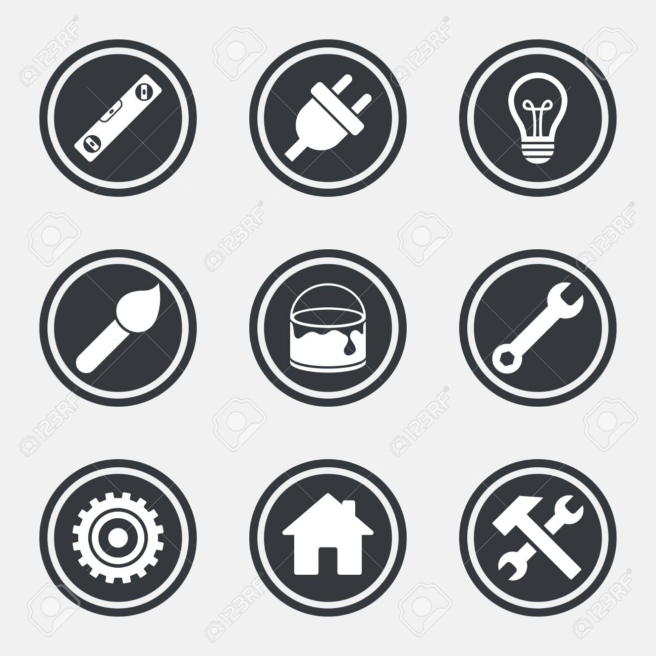 Repair, construction icons  Hammer, wrench tool and cogwheel