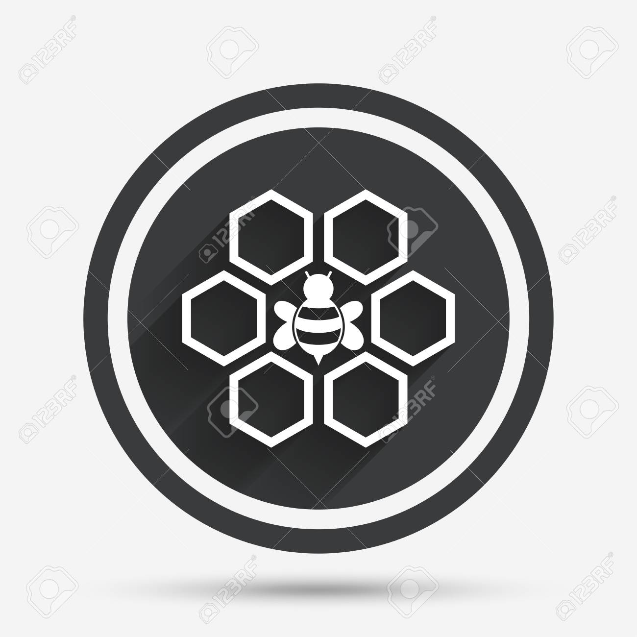 Honeycomb With Bee Sign Icon Honey Cells Symbol Sweet Natural Food