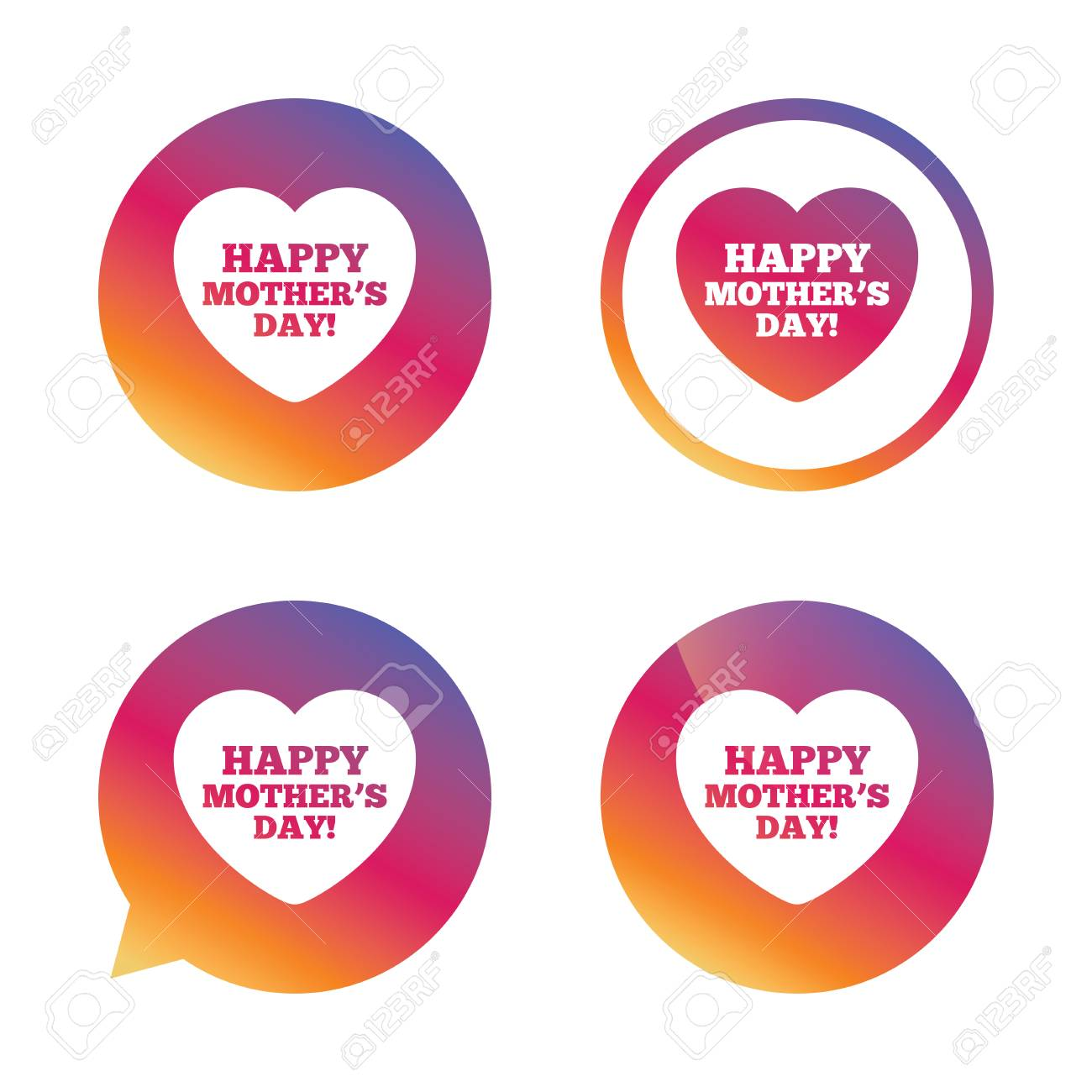 Happy Mothers's Day sign icon  Mom symbol  Gradient buttons with