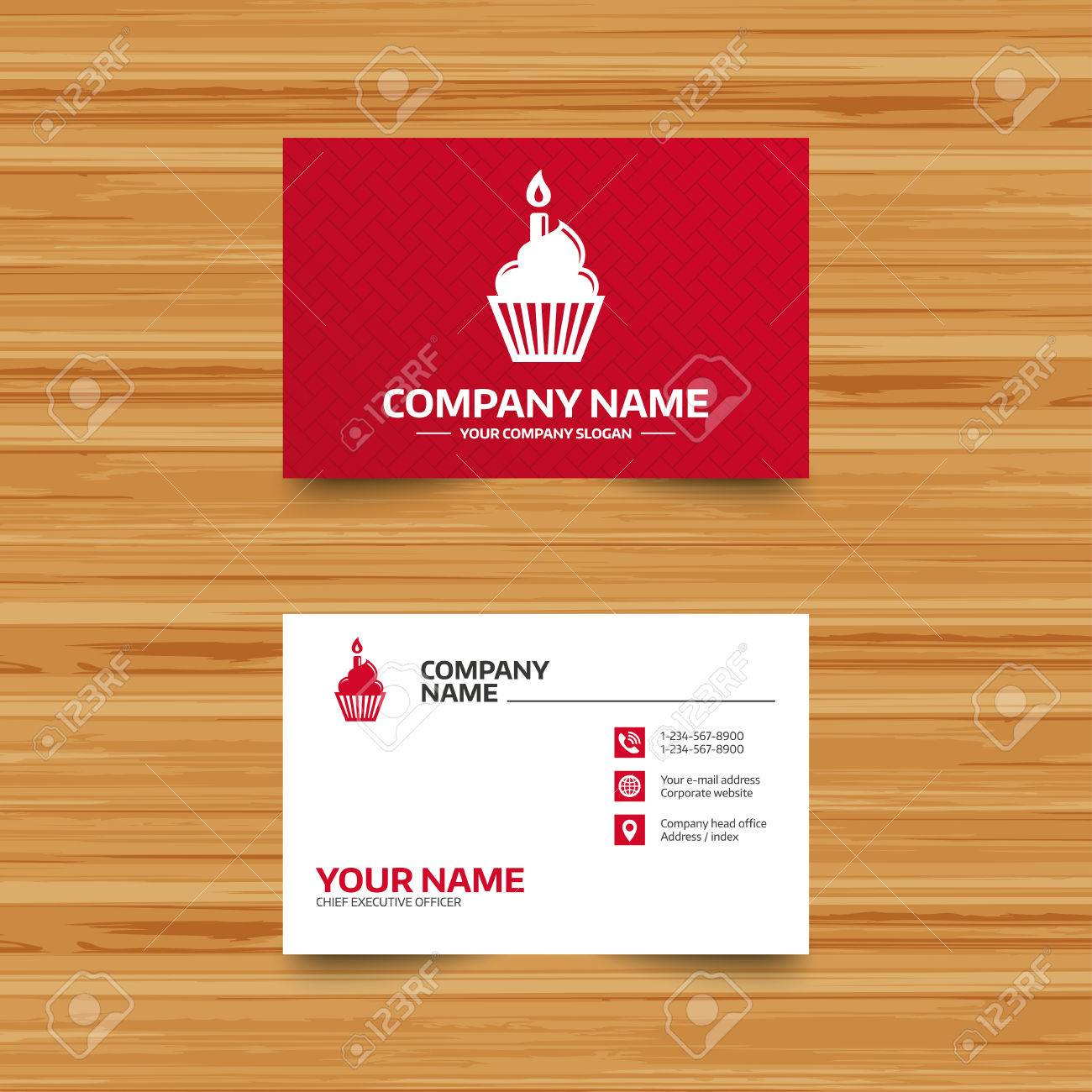Business card template birthday cake sign icon cupcake with business card template birthday cake sign icon cupcake with burning candle symbol phone reheart Images