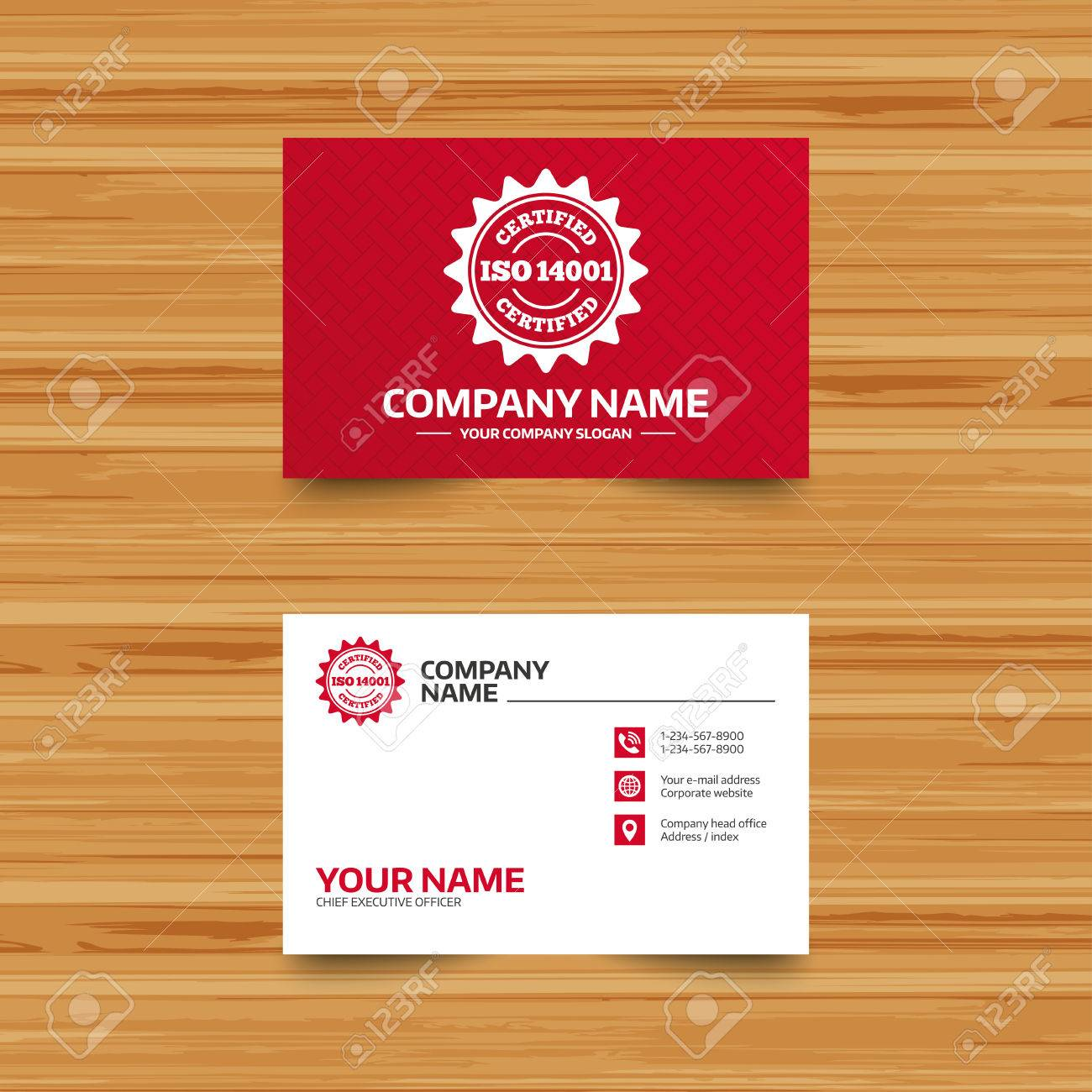 Business Card Template. ISO 14001 Certified Sign Icon. Certification ...
