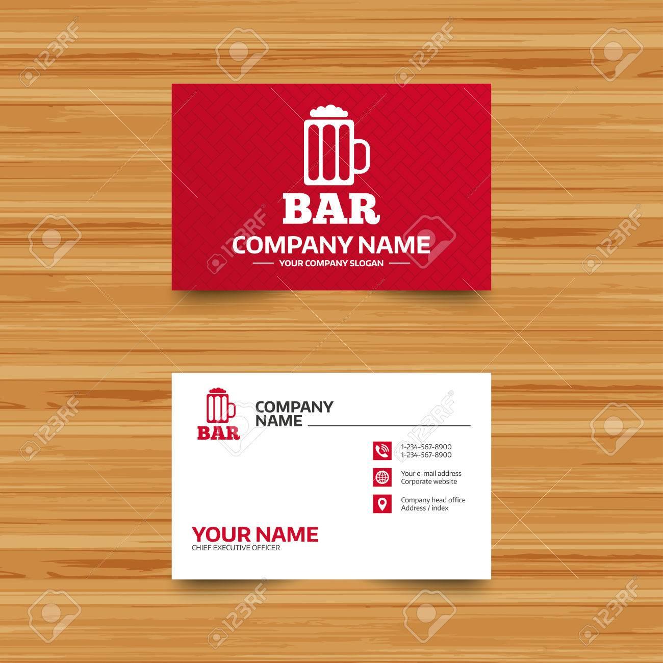 Modele De Carte Visite Bar Ou Signe Pub Icone Verre Symbole La Biere Alcool Boisson Telephone Globe Et Pointer Des Icones