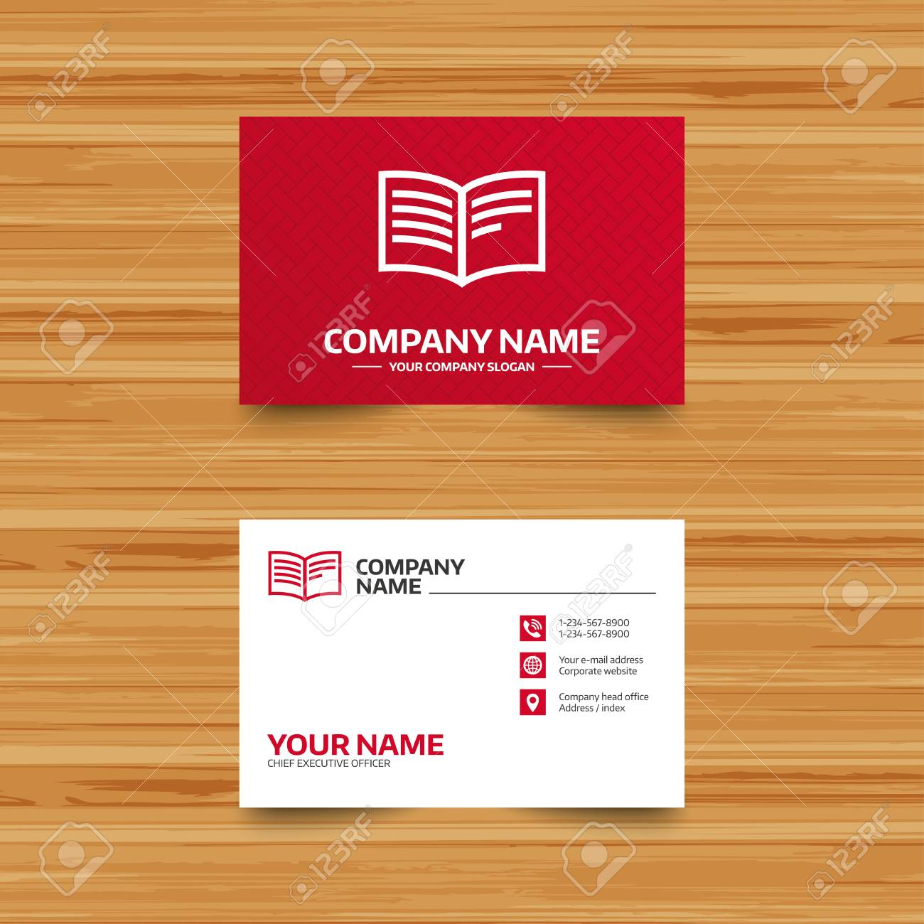 Business Card Template. Book Sign Icon. Open Book Symbol. Phone Throughout Business Card Template Open Office