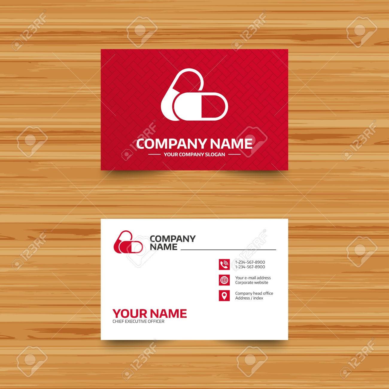 business card template medical pills sign icon pharmacy medicine