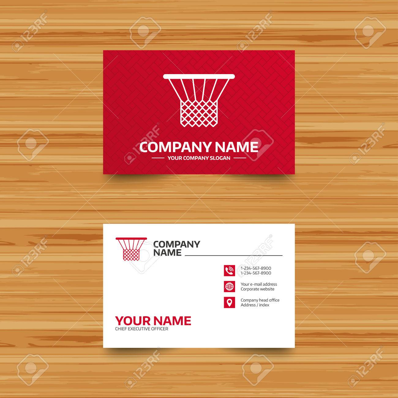 Business Card Template. Basketball Basket Sign Icon. Sport Symbol ...