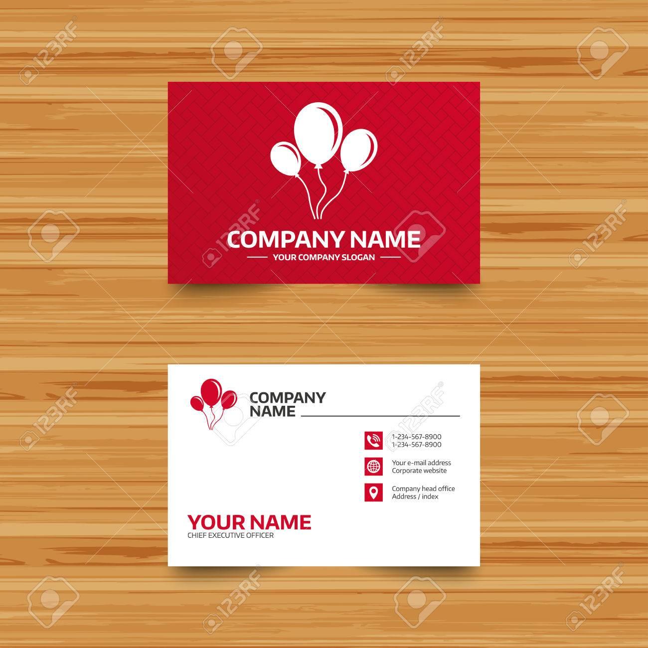 Business Card Template. Balloon Sign Icon. Birthday Air Balloon ...