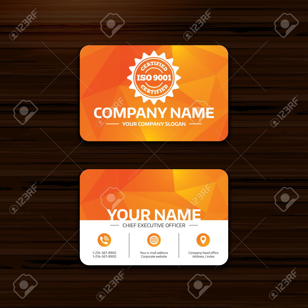 Business Or Visiting Card Template. ISO 9001 Certified Sign Icon ...