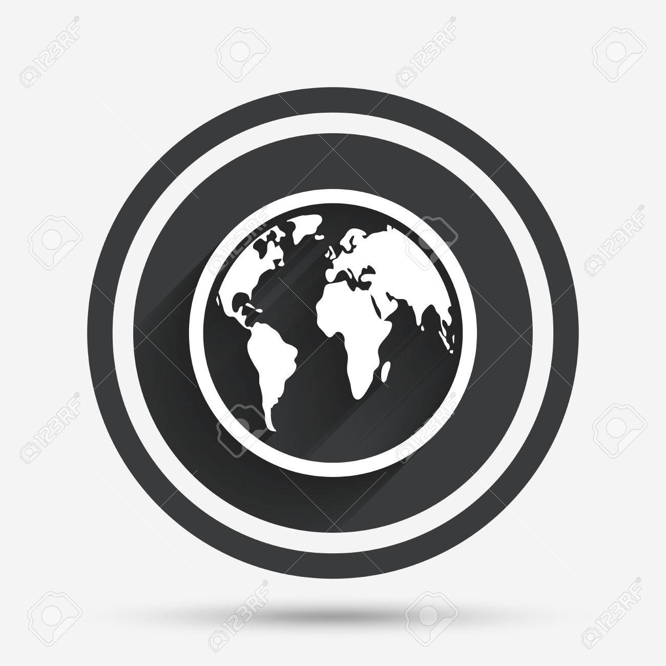 Globe sign icon world map geography symbol circle flat button world map geography symbol circle flat button with shadow and border gumiabroncs Gallery