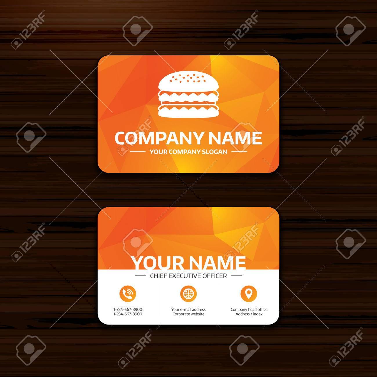 Business Or Visiting Card Template. Hamburger Icon. Burger Food ...