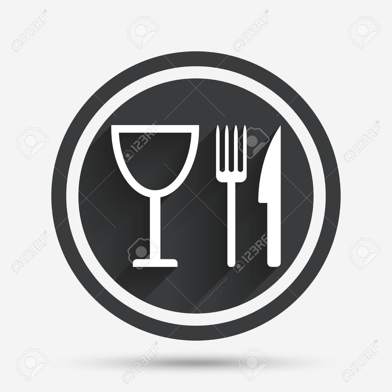 Eat Sign Icon Cutlery Symbol Knife Fork And Wineglass Circle