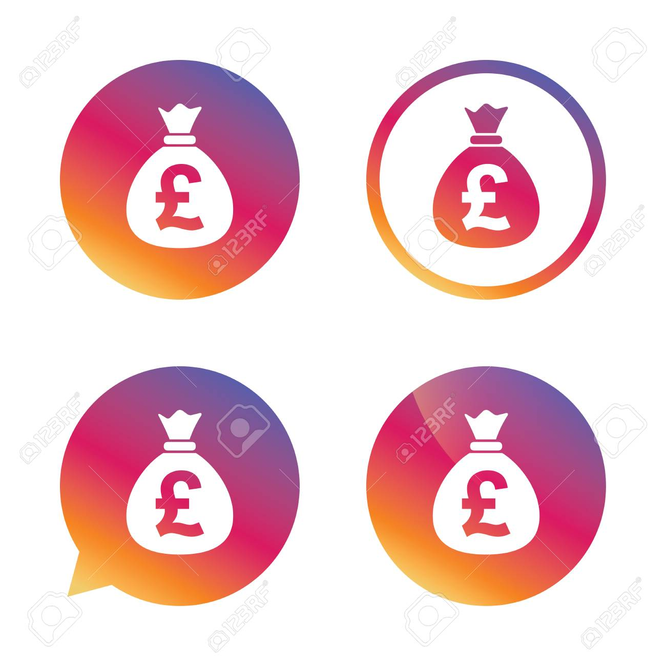 Money bag sign icon pound gbp currency symbol gradient buttons pound gbp currency symbol gradient buttons with flat icon buycottarizona Choice Image