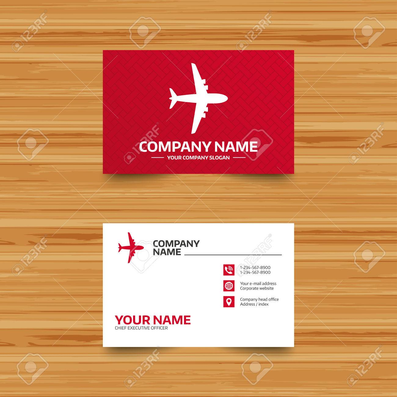 Business Card Template. Airplane Sign. Plane Symbol. Travel Icon ...