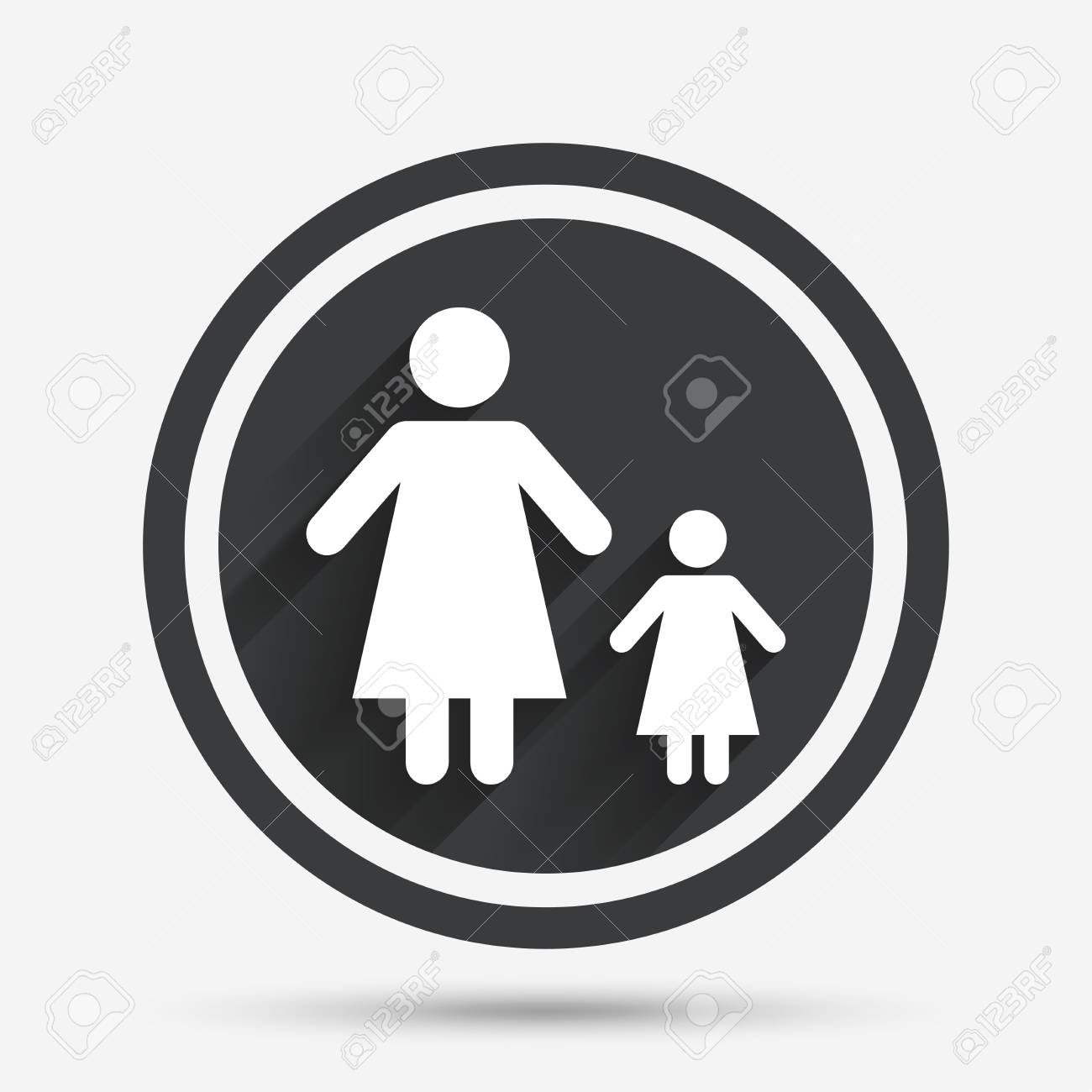 One Parent Family With One Child Sign Icon Mother With Daughter