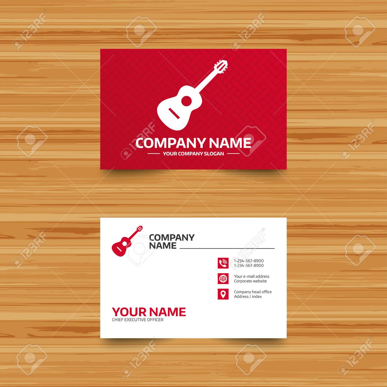 Business card template acoustic guitar sign icon music symbol business card template acoustic guitar sign icon music symbol phone globe and reheart Choice Image