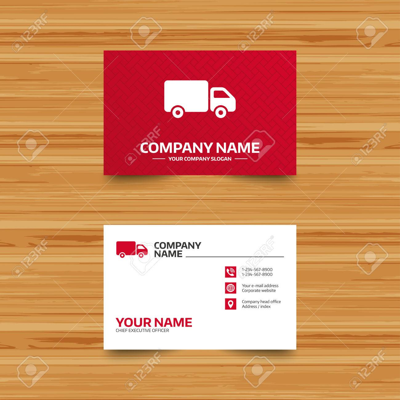 Business Card Template. Delivery Truck Sign Icon. Cargo Van Symbol ...