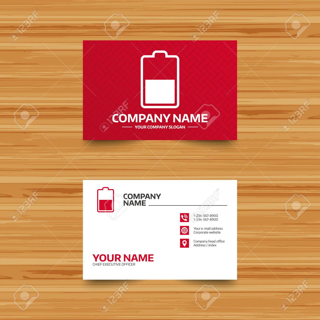 Business card template battery half level sign icon low business card template battery half level sign icon low electricity symbol phone magicingreecefo Choice Image