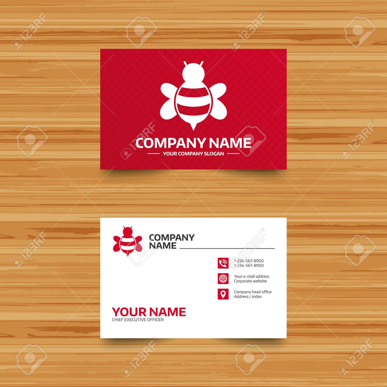 business card template bee sign icon honeybee or apis with