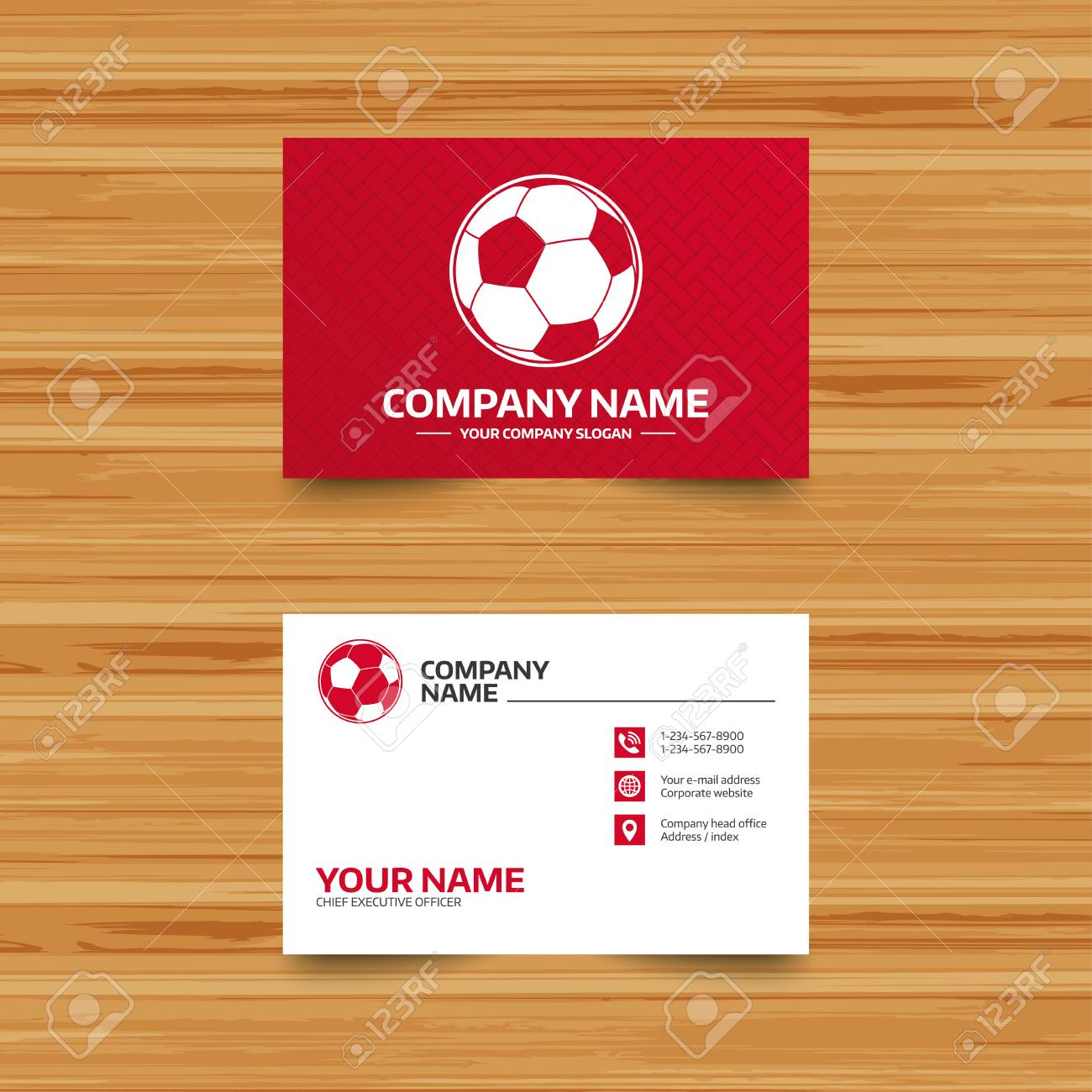 Business Card Template. Football Ball Sign Icon. Soccer Sport ...