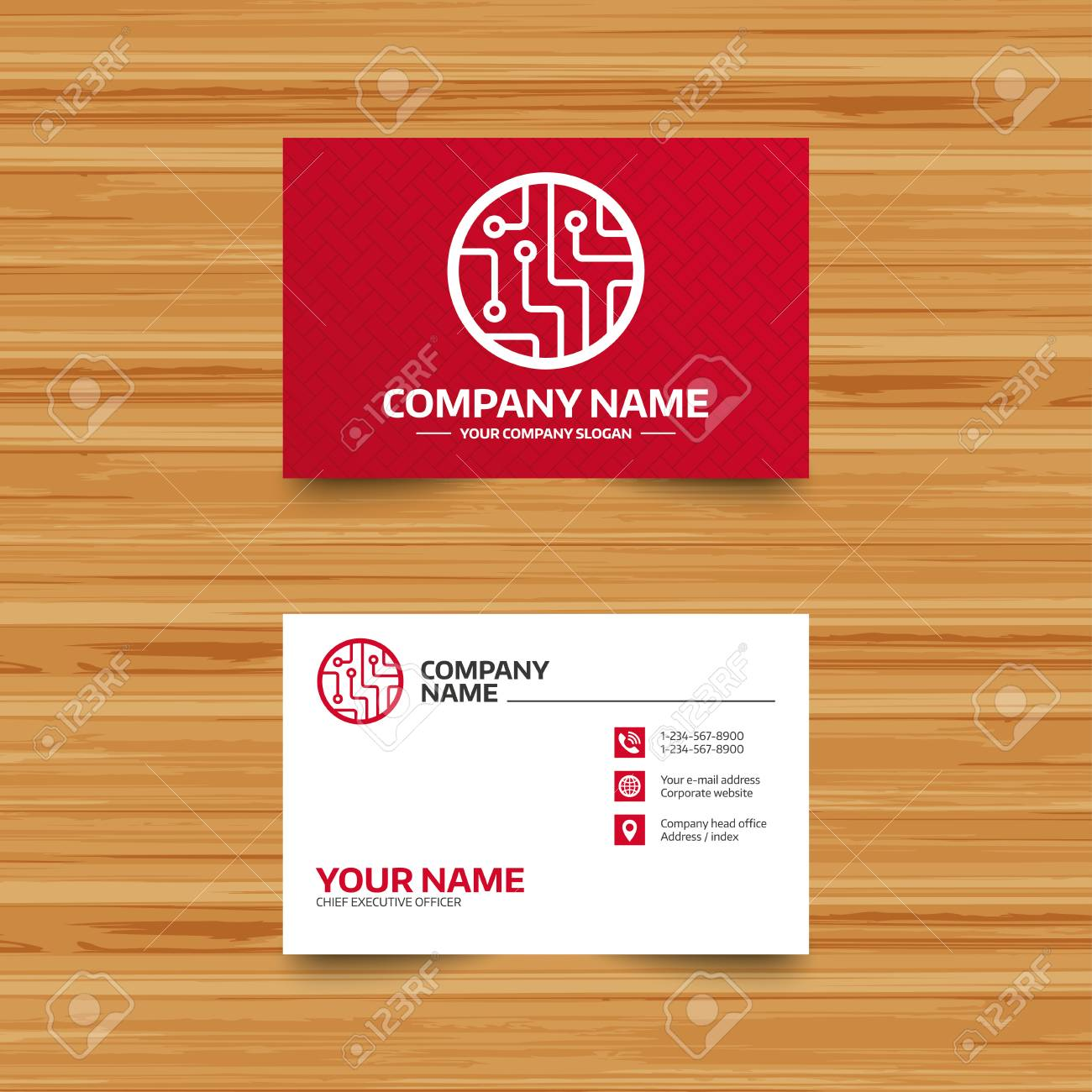 Business Card Template Circuit Board Sign Icon Technology Scheme