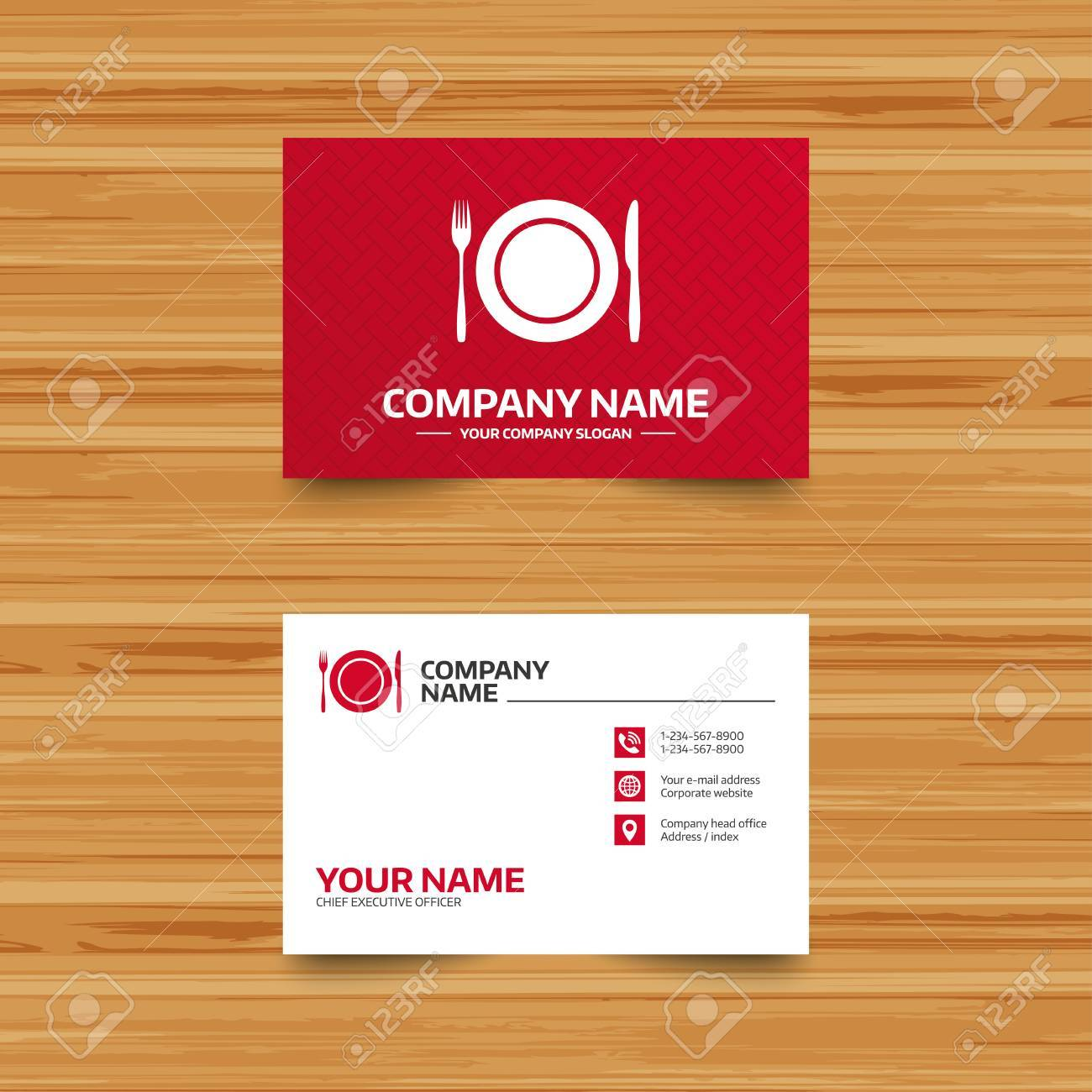 Business card template plate dish with fork and knife eat sign business card template plate dish with fork and knife eat sign icon cutlery reheart Images
