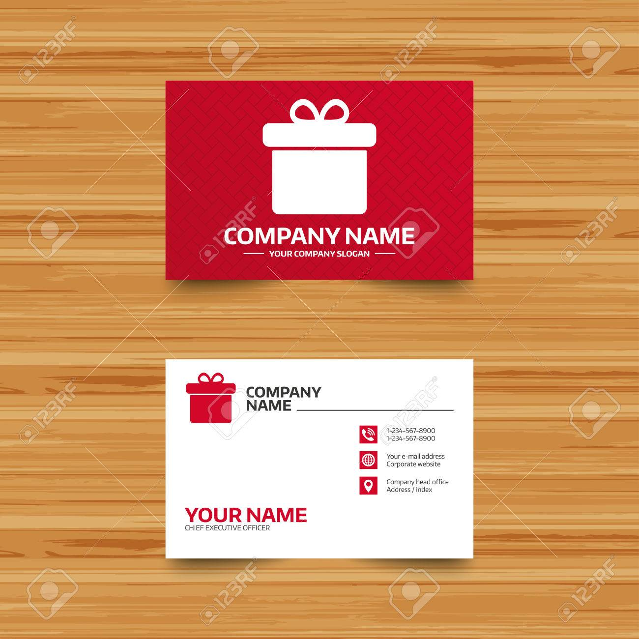 Business card template gift box sign icon present symbol phone business card template gift box sign icon present symbol phone globe and magicingreecefo Images