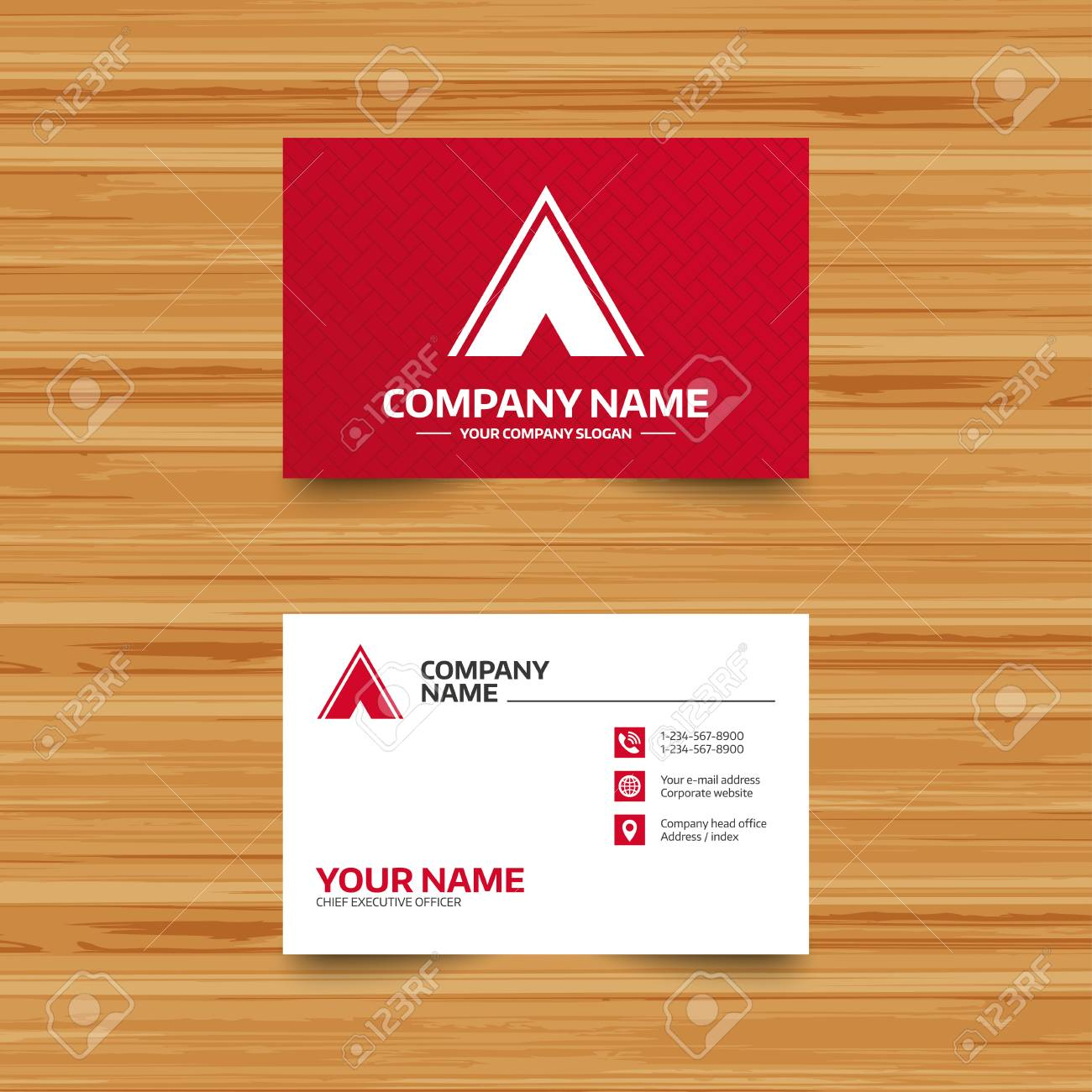 Business Card Template. Tourist Tent Sign Icon. Camping Symbol ...
