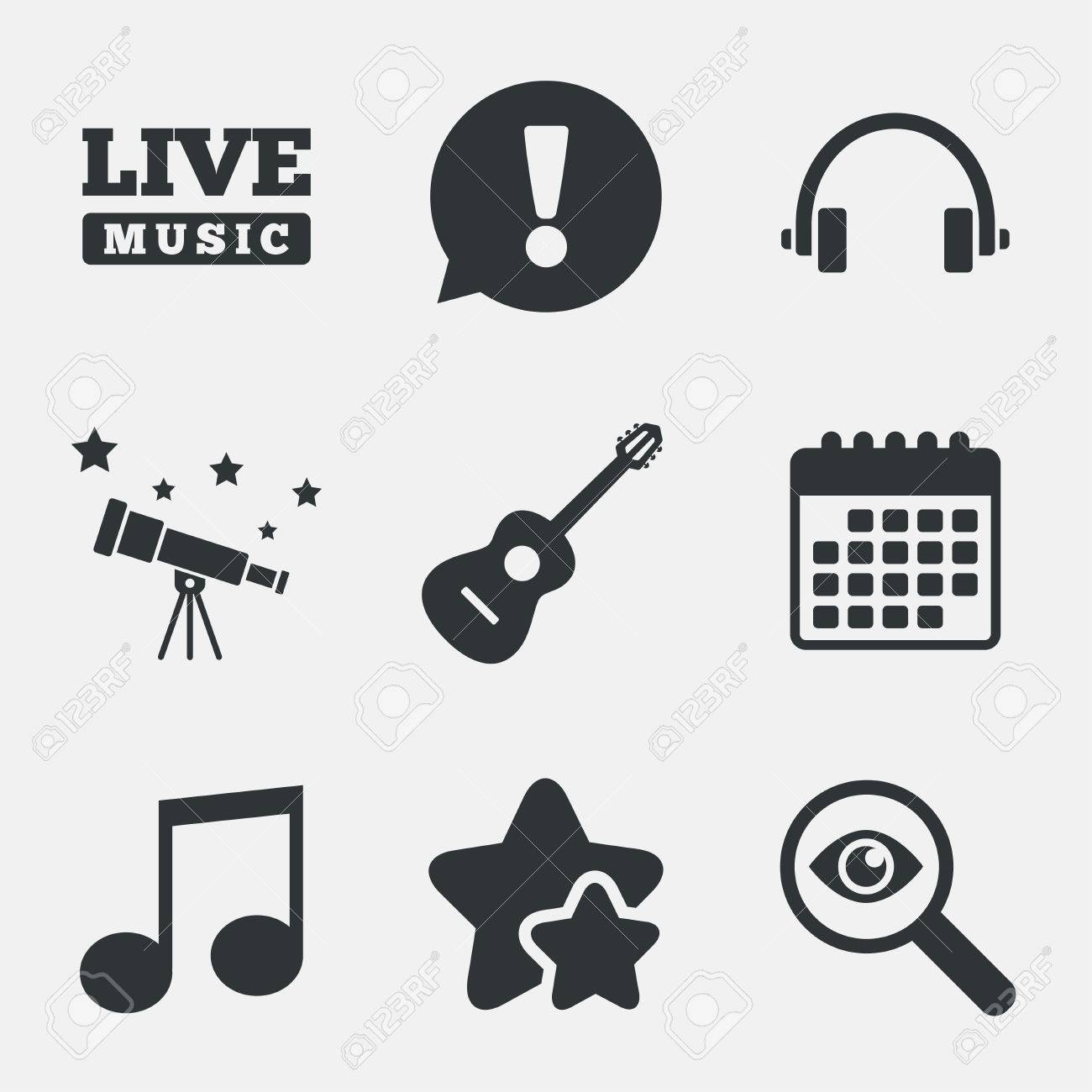 Musical elements icons musical note key and live music symbols musical elements icons musical note key and live music symbols headphones and acoustic guitar biocorpaavc