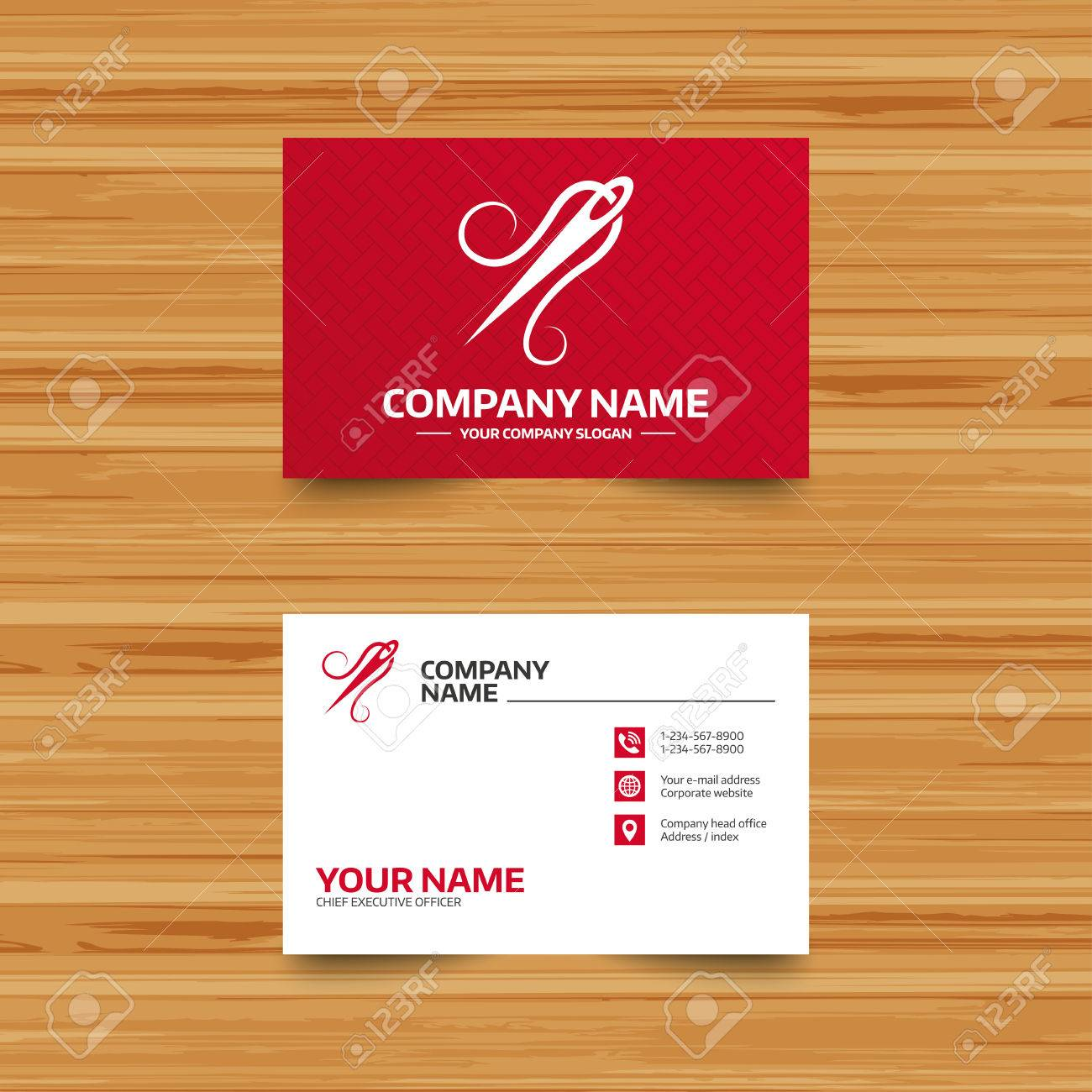 Business Card Template. Needle With Thread Icon. Tailor Symbol ...